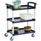 Lakeside 2500 Black Plastic Three Shelf Utility Cart - 31 3/4