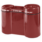 Rubbermaid FGFGR5220 Recycling Centers Burgundy Fiberglass Shapes 3-Section Can/Paper/Trash Recycling Station with Rigid Plastic Liner 21, 15, 23 Gallon (FGFGR5220PLBY)