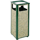 Rubbermaid R12SU Aspen Ash/Trash Empire Green with Desert Brown Stone Panels Square Steel Waste Receptacle with Rigid Plastic Liner 12 Gallons (FGR12SU202PL)