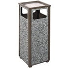 Rubbermaid R12SU Aspen Ash/Trash Architectural Bronze with Glacier Gray Stone Panels Square Steel Waste Receptacle with Rigid Plastic Liner 12 Gallons (FGR12SU6000PL)