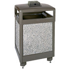 Rubbermaid R48HTWU Aspen Hinged-Top Architectural Bronze with Glacier Gray Stone Panels Square Steel Waste Receptacle with Weather Urn and Rigid Plastic Liner 48 Gallon (FGR48HTWU6000PL)