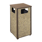 Rubbermaid R18 Aspen Flat-Top Brown with Desert Brown Stone Panels Square Steel Waste Receptacle with Rigid Plastic Liner 24 Gallon (FGR18201PL)