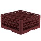 Vollrath TR11GGA Traex Rack Max Full-Size Burgundy 20-Compartment 7 7/8 inch Glass Rack with Open Rack Extender On Top
