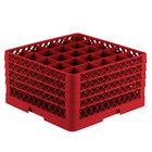 Vollrath TR6BBBB Traex Full-Size Red 25-Compartment 9 7/16 inch Glass Rack