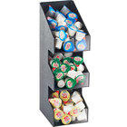 Cal-Mil 2053 Classic Three Tier Black Condiment Display with Clear Bin Fronts - 5 1/4