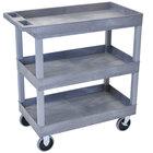 Luxor / H. Wilson EC111HD-G Gray 3 Tub Cart Utility Cart - 18 inch x 35 1/4 inch x 37 1/4 inch