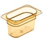 Carlisle 3088713 StorPlus 1/9 Size Amber High Heat Food Pan - 4 inch Deep