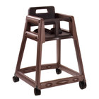 Koala Kare KB850-09W Brown Assembled Stackable Plastic High Chair with Casters