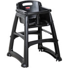 Rubbermaid FG780508BLA Black Sturdy Chair Restaurant High Chair with Wheels - Assembled