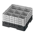 "Cambro 9S1114110 Black Camrack 9 Compartment 11 3/4"" Glass Rack"