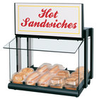 Hatco GRHW-1SGS Glo-Ray Black Slanted Mini-Merchandising Warmer with Sign and Toggle Controls - 820W