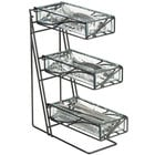 Cal-Mil 1235-13-43 Black Wire Flatware / Condiment Display with Faux Glass Bins - 5 1/4 inch x 14 inch x 18 inch