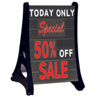 Aarco Roll A-Frame Two Sided Black Letterboard with Stand and Deluxe Character Set - 24
