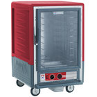Metro C535-HLFC-4 C5 3 Series Insulated Low Wattage Half Size Heated Holding Cabinet with Fixed Wire Slides and Clear Door - Red