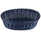 Tablecraft HM1174BL Blue Oval Rattan Basket 9 1/4 inch x 6 1/4 inch x 3 1/4 inch - 6/Pack