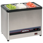Nemco 9020-2 Countertop Cold Condiment Chiller with Two 1/6 Size Food Pans and Clear Hinged Lids - 120V