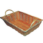 16 inch x 11 inch Rectangular Polypropylene Natural Woven Basket with Handles