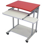 Luxor / H. Wilson LCT29 Mobile Computer Desk with Pullout Keyboard - Red