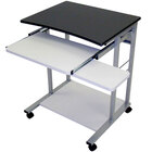 Luxor / H. Wilson LCT29 Mobile Computer Desk with Pullout Keyboard - Black