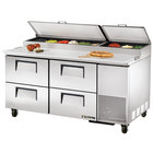 True TPP-67D-4 67 inch Four Drawer Refrigerated Pizza Prep Table