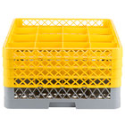 Noble Products 16-Compartment Gray Full-Size Glass Rack with 4 Yellow Extenders - 19 3/8