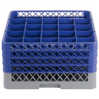 Noble Products 25-Compartment Gray Full-Size Glass Rack with 4 Blue Extenders - 19 3/8