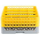 Noble Products 16-Compartment Gray Full-Size Glass Rack with 3 Yellow Extenders - 19 3/8