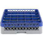 Noble Products 25-Compartment Gray Full-Size Glass Rack with Blue Extender - 19 3/8