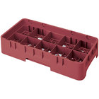 Cambro 10HS958416 Cranberry Camrack 10 Compartment 10 1/8 inch Half Size Glass Rack