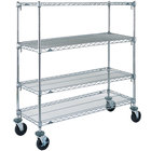 Metro A566BC Super Adjustable Chrome 4 Tier Mobile Shelving Unit with Rubber Casters - 24 inch x 60 inch x 69 inch
