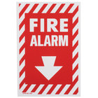 Buckeye 13 inch x 8 inch Red and White Fire Alarm Adhesive Label with Border