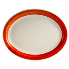 CAC R-51-R Rainbow 15 1/2 inch x 10 inch Red Rolled Edge Platter - 12 / Case