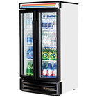 True GDM-14RF-LD White Refrigerated Glass Door Merchandiser with Radius Front - 14 Cu. Ft.