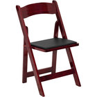 Mahogany Wood Folding Chair with Padded Seat