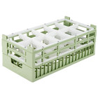 Vollrath 52822 Signature Half-Size Light Green 10-Compartment 8 7/8 inch X-Tall Rack