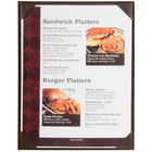 Menu Solutions K111C BROWN The Kearny Series 8 1/2 inch x 11 inch Single Panel / Double-Sided Brown Menu Board