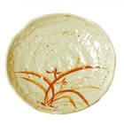 Thunder Group 1814 Gold Orchid 14 inch Lotus Shaped Melamine Plate - 12/Pack