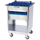 Lakeside 997 Stainless Steel Mobile Glass Rack Dispenser with 2 Open Sides - 14 Rack Capacity