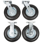 Rubbermaid FG4592000000 8 inch Pneumatic Rigid and Swivel Plate Casters for Rubbermaid Carts - 4/Set