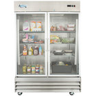 Avantco CFD-2RR-G 54 inch Two Section Glass Door Reach-In Refrigerator with LED Lighting - 46.5 Cu. Ft.