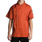 Chef Revival J020SP-5X Cool Crew Fresh Size 64 (5X) Spice Orange Customizable Chef Jacket with Short Sleeves and Hidden Snap Buttons - Poly-Cotton