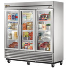 True T-72G-LD Three Section Glass Door Reach In Refrigerator with LED Lighting - 72 Cu. Ft.