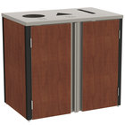 Lakeside 3415 Stainless Steel Refuse / Recycle / Paper Station with Top Access and Red Maple Laminate Finish - 37 1/2