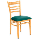 Lancaster Table & Seating Spartan Series Metal Ladder Back Chair with Natural Wood Grain Finish and Green Vinyl Seat