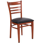 Lancaster Table & Seating Spartan Series Metal Ladder Back Chair with Mahogany Wood Grain Finish and Black Vinyl Seat