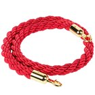 Red 5' Stanchion Rope with Gold Ends for Rope-Style Crowd Control / Guidance Stanchion