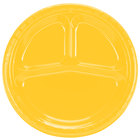 Creative Converting 019269 10 1/4 inch School Bus Yellow Divided Plastic Banquet Plate - 20 / Pack