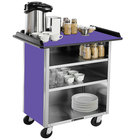 Lakeside 678 Stainless Steel Beverage Service Cart with 3 Shelves and Purple Laminate Finish - 40 3/4 inch x 24 inch x 38 1/4 inch