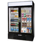 Beverage Air MMR49-1-B Black Marketmax Refrigerated 2 Glass Door Merchandiser - 49 Cu. Ft.