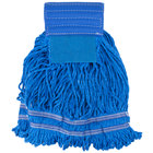 Small 15 oz. Microfiber String Mop with Scrubber and 5 inch Band - Blue